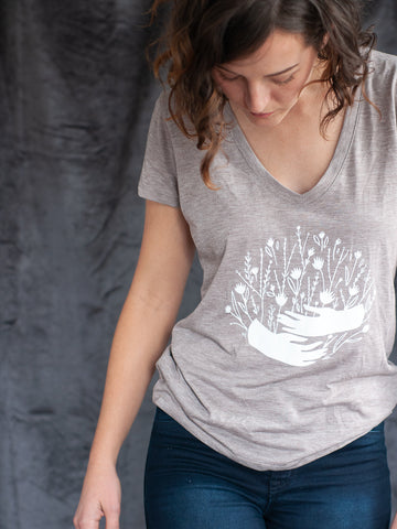 Gather Flowers & Hands TShirt - Gather Goods Co - Raleigh, NC