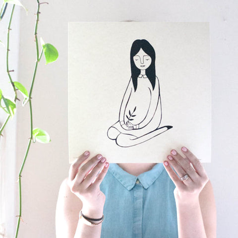 Girl with Holding a Plant, Black and White Drawing, 8x10 Print - Jordan Grace Owens - Gather Goods Co - Raleigh, NC