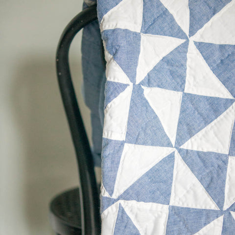 Homemade Quilt, Vintage, Denim Geometric Pattern, Made in Maine - Gather Goods Co - Raleigh, NC