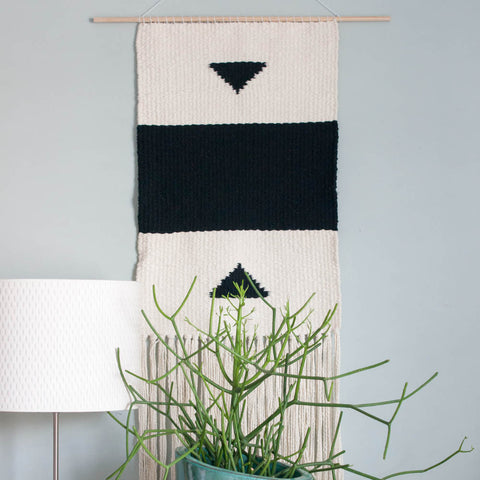 Woven Wall Tapestry, Wall Hanging, Black and White - Gather Goods Co - Raleigh, NC