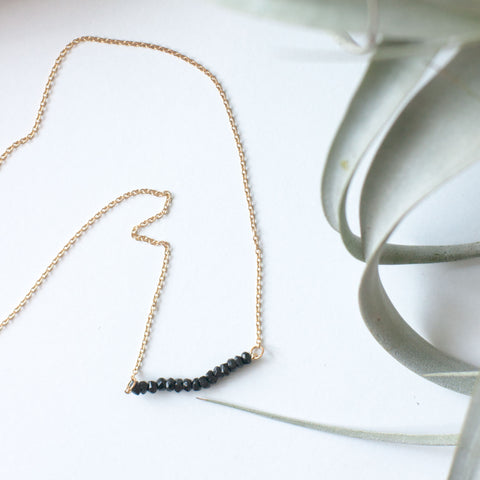 Black Beaded Bar Necklace - Gather Goods Co - Raleigh, NC