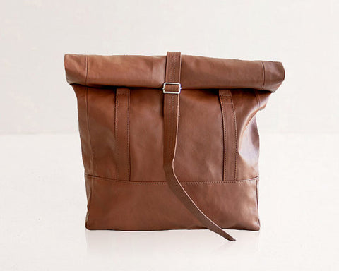 Rolltop Backpack / Tote Bag / Brown - Gather Goods Co - Raleigh, NC