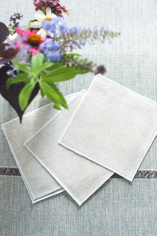 Flax Linen Cocktail Napkins, Set of 4 - Gather Goods Co - Raleigh, NC