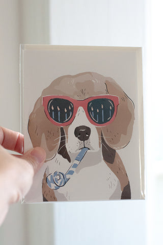 Happy Birthday Beagle Blank Note Card