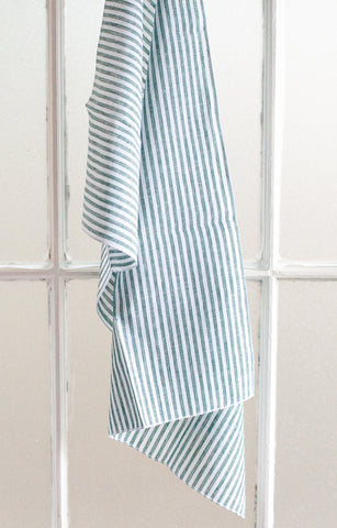 Sage Striped Linen Tea Towel