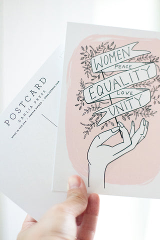 Women, Peace, Equality Illustrated Postcard - Gather Goods Co - Raleigh, NC