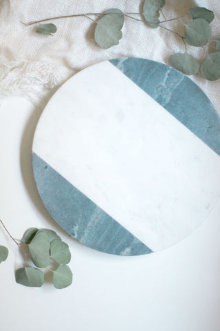 White & Gray Marble Round Board