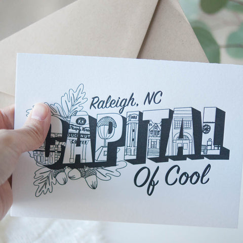 Raleigh, Capital of Cool Letterpress Greeting Card - Gather Goods Co - Raleigh, NC