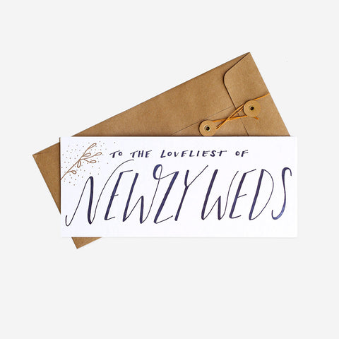 To the Loveliest of Newlyweds Greeting Card, Letterpress