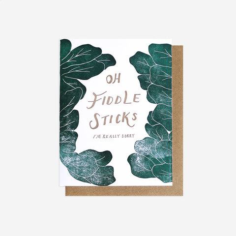 Oh Fiddlesticks Greeting Card, Letterpress