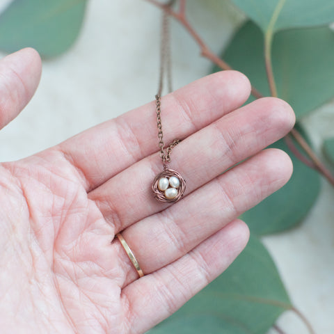 Tiny Copper Bird Nest Necklace - Gather Goods Co - Raleigh, NC
