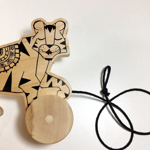 Wooden Tiger Pull Toy - Gather Goods Co - Raleigh, NC