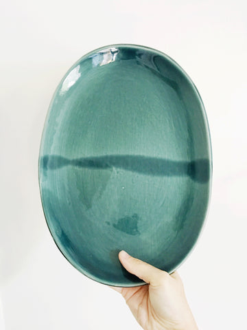 Dark Teal Ceramic Serving Platter