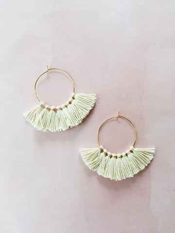 Cream Tassel Hoop Earrings - Gather Goods Co - Raleigh, NC
