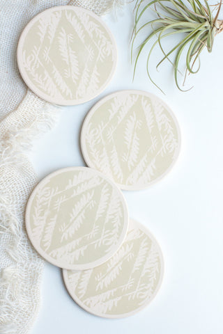 Ceramic Coasters, Pale Sage Feathers