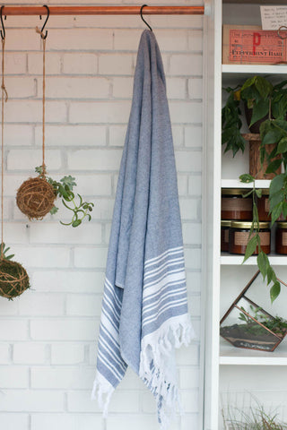 Blue and White Turkish Cotton Terry Towel / Beach Blanket.