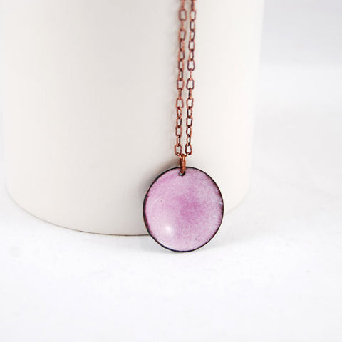 Blush Enamel Pendant Necklace