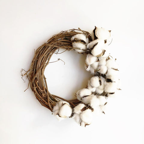Cotton Wreath, Petite, Asymetrical 8""