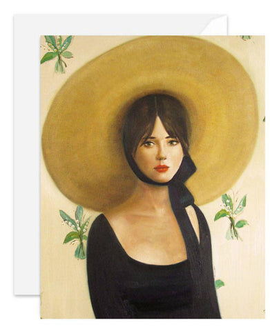Woman in Straw Hat Blank Notecard