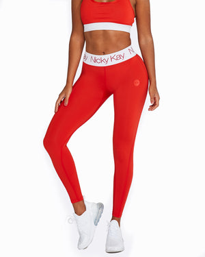 FitGlam Compression Tights: Red with White Waistband