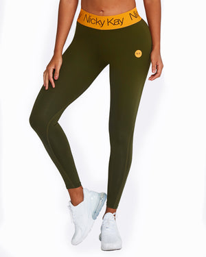 FitGlam Compression Tights - Khaki with Orange Waistband
