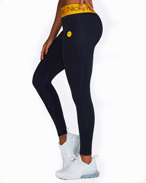 FitGlam Compression Tights: Navy with Yellow Waistband