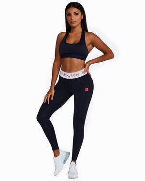 FitGlam Compression Tights: Navy with White Waistband + Red Logo