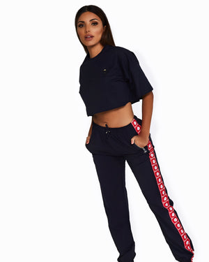 Navy Logo Trackpants with Red + White