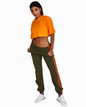 Khaki + Orange logo track pants