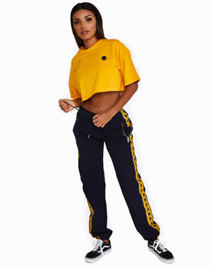 Navy + Yellow Logo Trackpants
