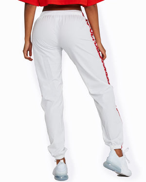 White + Red Logo Track Pants