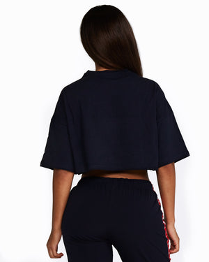 Nicky Kay Cropped Tee - Navy