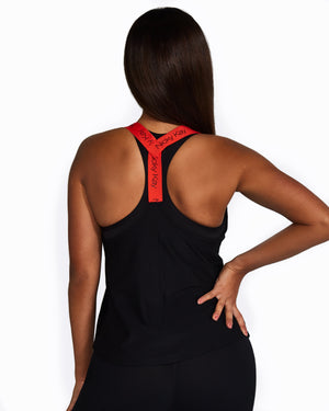 Nicky Kay Mesh Tank - Black with Red straps