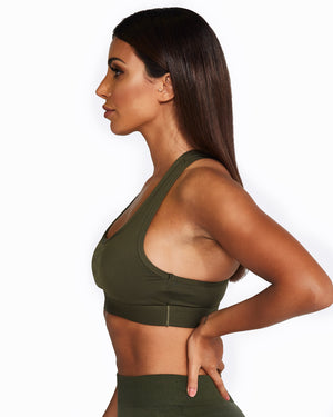 Racerback Crop Top - Khaki