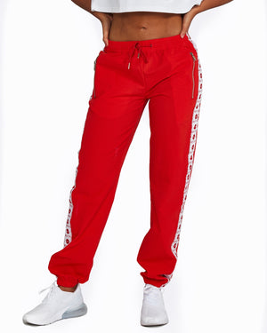Red + White Logo Track Pants