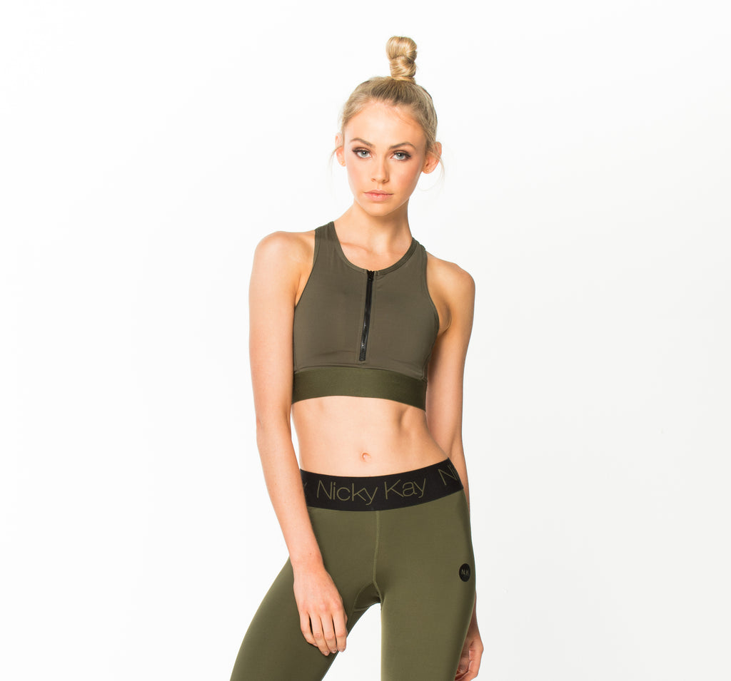 She Hustles Crop Top Khaki