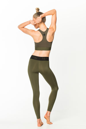 Fit Glam Compression Tights Khaki w/ Black Waistband