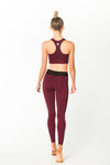 Fit Glam Compression Tights Burgundy w/ Black Waistband