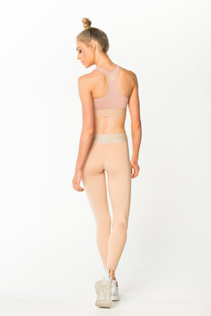 Fit Glam Compression Tights Blush w/ Creme Waistband