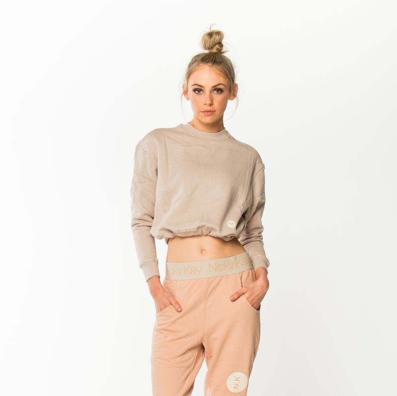 ImSoFierce Cropped Sweatshirt - Creme