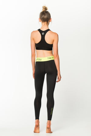 Fit Glam Tights - Black w/ Neon Yellow Waistband