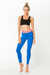 Fit Glam Tights - Midnight Blue w/ Coral Pink Waistband