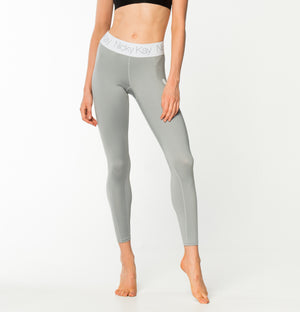 Fit Glam Tights - Light Grey w/ White Waistband
