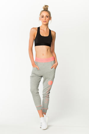 Goal Digger Sweatpants - Grey w/ Coral Pink Waistband