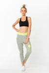 Goal Digger Sweatpants - Grey w/ Neon Yellow Waistband