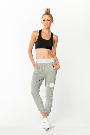 Goal Digger Sweatpants - Grey w/ White Waistband
