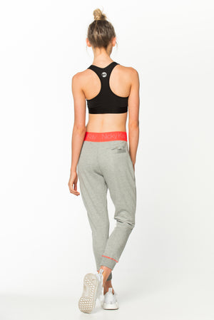Goal Digger Sweatpants - Grey w/ Neon Orange Waistband