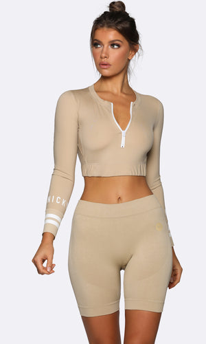 Long Sleeve Crop - Cream
