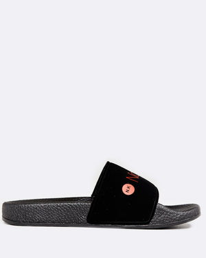 BLACK SLIDES WITH RED NICKY KAY LOGO