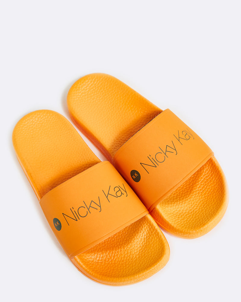 ORANGE SLIDES WITH KHAKI NICKY KAY LOGO